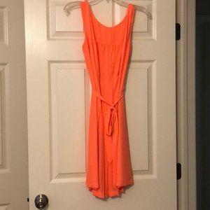 Bright tangerine polyester LOFT dress!